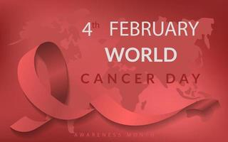 Background for cancer day with ribbon, world charity awareness month care campaign vector