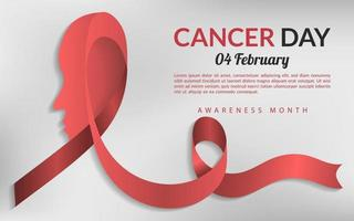 Cancer day background, awareness month charity campaign template poster vector