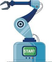 máquina de producción de brazo robótico. Ilustración vectorial sobre fondo blanco vector