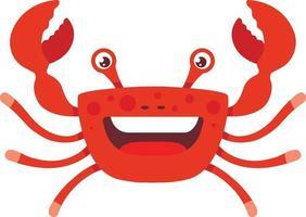 Cangrejo alegre con la boca abierta sobre un fondo blanco con tentáculos levantados hacia arriba. ilustración de vector de personaje