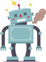 A cute robot is standing tall. It is broken and smoking. Error 404 for internet site. Vector illustration of a character.