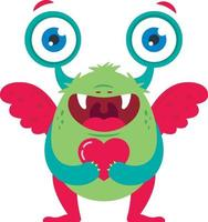 cute green monster with a heart in his hands waiting for a loved one. vector illustration of a character in full growth. St. Valentine's Day.