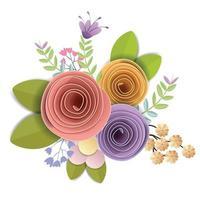 diseño vectorial e ilustración. Flores de papel artesanal, primavera, otoño, boda y ramo floral festivo de San Valentín, colores brillantes de otoño, imágenes prediseñadas de naturaleza aislada sobre fondo blanco, adorno decorativo. vector