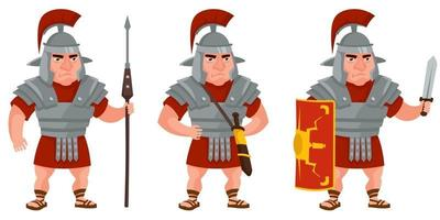 Roman warrior in different poses. vector