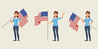 mujer sosteniendo la bandera americana en diferentes poses. vector