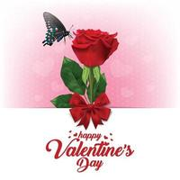 Happy Valentines Day. Greeting card with realistic of red rose, Typography design for print cards, banner, poster. vector