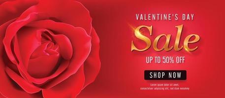 Plantilla de banner de vector de venta de San Valentín. Promoción de descuento de la tienda del día de San Valentín con espacio rojo para texto y elementos rosas en fondo rojo. ilustración vectorial.