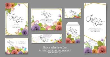 Set of vector and illustration Invitation or wedding card design. craft paper flowers, spring, autumn, wedding and valentine festive floral bouquet, bright fall colors.