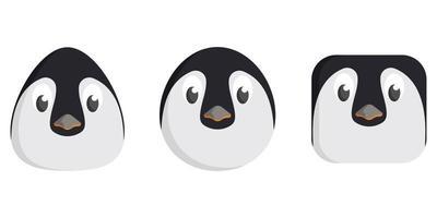 Set of cartoon penguins. vector