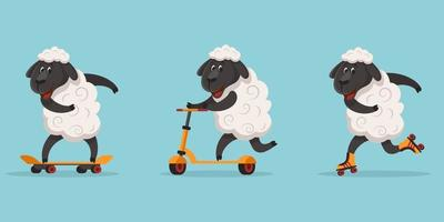 Funny sporty sheep. vector