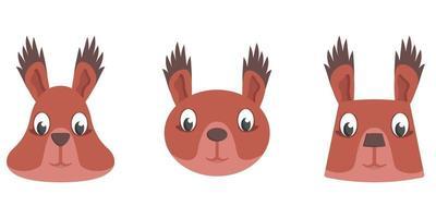 Set of cartoon squirrels. vector