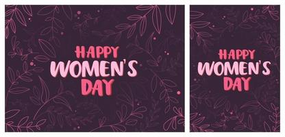 Women's Day templates with natural elements. vector