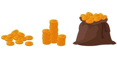 Golden coins in cartoon style. vector
