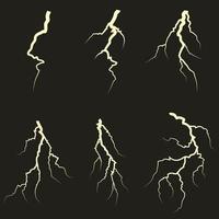 Set of different lightnings. vector