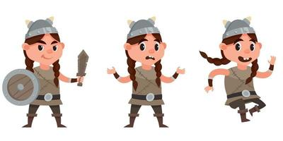 Baby viking in different poses. vector