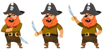 Pirate in different poses. vector