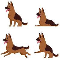 pastor alemán en diferentes poses. vector