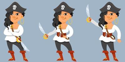 Female pirate in different poses. vector