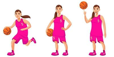 Basketball player in different poses. vector