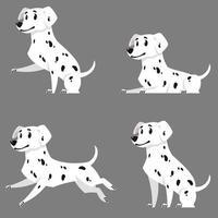 Dalmatian in different poses. vector