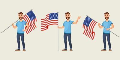 hombre que sostiene la bandera americana en diferentes poses. vector