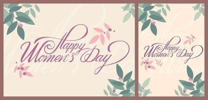 Women's Day templates with spring elements. vector