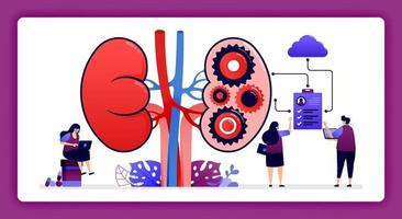 design illustration for kidney disease and treatment. Storage of internal organ and kidney health data in the cloud. Design can use for website, web, landing page, banner, mobile apps, ui ux, poster vector