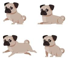 Pug dog in different poses. vector