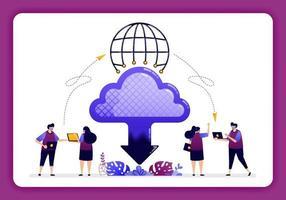 Ilustración del centro de datos en la nube. acceso global a la tecnología en la nube para compartir y enviar archivos en la red de Internet. El diseño se puede utilizar para sitios web, sitios web, páginas de destino, banners, aplicaciones móviles, ui ux, carteles. vector