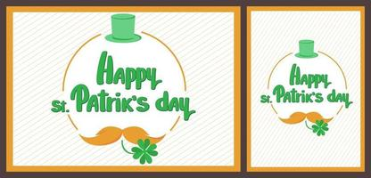St. Patrick's Day templates with hat and mustache. vector