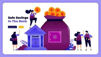 financial security and protection in banking for investment and savings. vector illustration for landing page, banner, website, web, poster, mobile apps, ui ux, homepage, social media, flyer, brochure