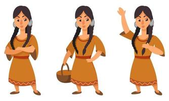 Native american girl in different poses. vector