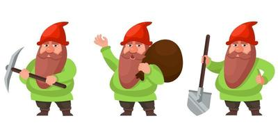 Gnome in different poses. vector