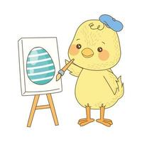 cute little chick painting egg easter character vector