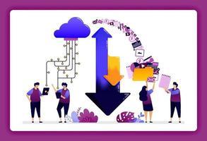 Ilustración del centro de datos en la nube. descargar y cargar el sistema de acceso en la base de datos en la nube para usuarios, hosts, servidores. El diseño se puede utilizar para sitios web, sitios web, páginas de destino, banners, aplicaciones móviles, ui ux, carteles, folletos. vector