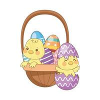 painted easter eggs in basket with little chick vector