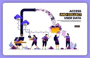 vector poster of access and collect user data. manage user experience activity. designed for landing page, banner, website, web, poster, mobile apps, homepage, social media, flyer, brochure, ui ux
