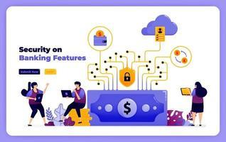 seguridad en las características del sistema financiero y los servicios de banca digital. ilustración vectorial para página de destino, banner, sitio web, web, póster, aplicaciones móviles, ui ux, página de inicio, redes sociales, volante, folleto vector