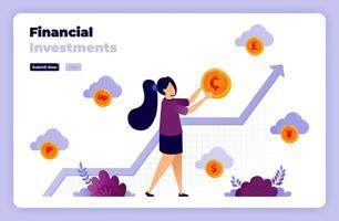Ilustración de inversión financiera con ilustraciones de monedas de oro y gráficos. diseñado para página de destino, banner, sitio web, web, póster, aplicaciones móviles, página de inicio, redes sociales, volante, folleto, ui ux vector