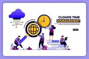 banner design of clouds time management. time management of cloud storage work. designed for landing page, banner, website, web, poster, mobile apps, homepage, social media, flyer, brochure, ui ux vector