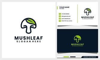 Hongo de arte lineal con concepto de logotipo de hoja natural y plantilla de tarjeta de visita