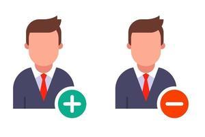 icono de persona con botones redondos menos y más. ilustración vectorial plana aislada sobre fondo blanco