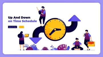 Schedule and adjust time in organizing events, meetings and agendas. vector illustration for landing page, banner, website, web, poster, mobile apps, ui ux, homepage, social media, flyer, brochure