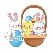 little rabbit and chick with eggs painted in basket