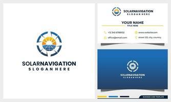Navegación con brújula con concepto de logotipo de energía de panel solar y plantilla de tarjeta de visita vector