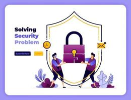 solve digital security problems with the best cooperation and handling. vector illustration for landing page, banner, website, web, poster, mobile apps, ui ux, homepage, social media, flyer, brochure
