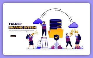 diseño del sitio web del sistema para compartir carpetas. gestión de intercambio de datos del sistema de base de datos. diseñado para página de destino, banner, sitio web, web, póster, aplicaciones móviles, página de inicio, redes sociales, volante, folleto, ui ux vector