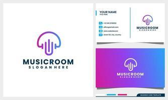 Hongo de arte lineal con concepto de logotipo de onda de audio y plantilla de tarjeta de visita vector