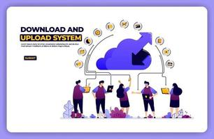 banner illustration of download and upload system. cloud network sharing activity. designed for landing page, banner, website, web, poster, mobile apps, homepage, social media, flyer, brochure, ui ux vector