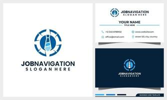 compass navigation with tie job logo concept and business card template vector